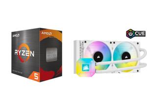 AMD Ryzen 5 5600X - Ryzen 5 5000 Series Vermeer (Zen 3) 6-Core 3.7 GHz Socket AM4 65W Desktop Processor - 100-100000065BOX and CORSAIR iCUE H100i ELITE CAPELLIX WHITE 240mm Radiator Liquid CPU Cooler White CW-9060050-WW