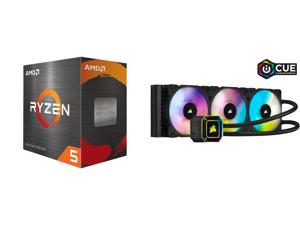 AMD Ryzen 5 5600X - Ryzen 5 5000 Series Vermeer (Zen 3) 6-Core 3.7 GHz Socket AM4 65W Desktop Processor - 100-100000065BOX and CORSAIR iCUE H150i ELITE CAPELLIX Liquid CPU Cooler CW-9060048-WW