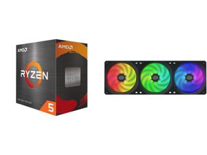 AMD Ryzen 5 5600X - Ryzen 5 5000 Series Vermeer (Zen 3) 6-Core 3.7 GHz Socket AM4 65W Desktop Processor - 100-100000065BOX and Cooler Master MasterFan SF360R ARGB 360mm Square Frame Fan