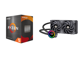 AMD Ryzen 5 5600X - Ryzen 5 5000 Series Vermeer (Zen 3) 6-Core 3.7 GHz Socket AM4 65W Desktop Processor - 100-100000065BOX and Thermaltake TOUGHLIQUID CL-W319-PL12BL-A Water Cooler