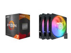 AMD Ryzen 7 5800X - Ryzen 7 5000 Series Vermeer (Zen 3) 8-Core 3.8 GHz Socket AM4 105W Desktop Processor - 100-100000063WOF and Cooler Master SickleFlow 120 V2 Addressable RGB 3 in 1 Square Frame Fan Individually Customizable LEDS Air Balan