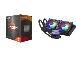 AMD Ryzen 7 5800X - Ryzen 7 5000 Series Vermeer (Zen 3) 8-Core 3.8 GHz Socket AM4 105W Desktop Processor - 100-100000063WOF and CoolerMaster MasterLiquid ML240 Illusion Translucent Dome 3rd Gen Dual Chamber Pump 240 Radiator Dual MF120 Halo