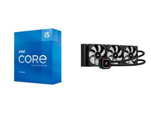 Intel Core i5-11600K - Core i5 11th Gen Rocket Lake 6-Core 3.9 GHz LGA 1200 125W Intel UHD Graphics 750 Desktop Processor - BX8070811600K and CORSAIR iCUE H150i RGB PRO XT 360mm Radiator Triple 120mm PWM Fans Advanced RGB Lighting and Fan C