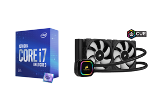 Intel Core i7-10700KF - Core i7 10th Gen Comet Lake 8-Core 3.8 GHz LGA 1200 125W Desktop Processor - BX8070110700KF and CORSAIR iCUE H100i RGB PRO XT 240mm Radiator Dual 120mm PWM Fans Software Control Liquid CPU Cooler CW-9060043-WW