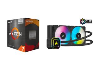 AMD Ryzen 7 5700G - Ryzen 7 5000 G-Series Cezanne (Zen 3) 8-Core 3.8 GHz Socket AM4 65W AMD Radeon Graphics Desktop Processor - 100-100000263BOX and Corsair Hydro Series iCUE H100i ELITE CAPELLIX 240mm Radiator Dual ML120 RGB PWM Fans Power