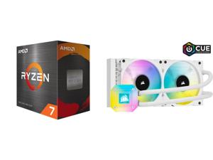 AMD Ryzen 7 5800X - Ryzen 7 5000 Series Vermeer (Zen 3) 8-Core 3.8 GHz Socket AM4 105W Desktop Processor - 100-100000063WOF and CORSAIR iCUE H100i ELITE CAPELLIX WHITE 240mm Radiator Liquid CPU Cooler White CW-9060050-WW
