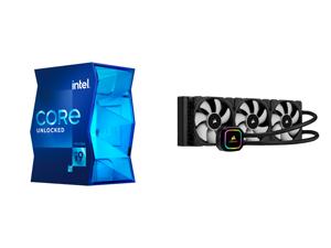Intel Core i9-11900K - Core i9 11th Gen Rocket Lake 8-Core 3.5 GHz LGA 1200 125W Intel UHD Graphics 750 Desktop Processor - BX8070811900K and CORSAIR iCUE H150i RGB PRO XT 360mm Radiator Triple 120mm PWM Fans Advanced RGB Lighting and Fan C