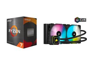 AMD Ryzen 7 5800X - Ryzen 7 5000 Series Vermeer (Zen 3) 8-Core 3.8 GHz Socket AM4 105W Desktop Processor - 100-100000063WOF and Corsair Hydro Series iCUE H115i ELITE CAPELLIX 280mm Radiator Dual ML140 RGB PWM Fans Powerful iCUE Software Liq