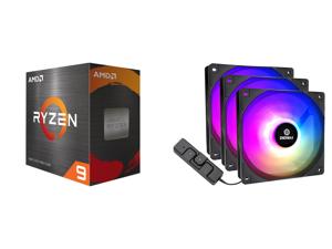 AMD Ryzen 9 5950X - Ryzen 9 5000 Series Vermeer (Zen 3) 16-Core 3.4 GHz Socket AM4 105W Desktop Processor - 100-100000059WOF and Enermax HF120 RGB PWM 120mm Case Fan Addressable RGB Sync Via Motherboard/Control Box 3 Fan Pack- Black