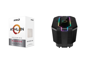 AMD Athlon 3000G Picasso (Zen+) 3.5GHz Dual-Core Unlocked OC AM4 Processor with Vega 3 Graphics and Cooler Master MasterAir MA620M Dual Tower ARGB High Performance CPU Air Cooler 6 CDC 2.0 Heatpipes SF120R Fan Hexagon Strip Addressable RGB