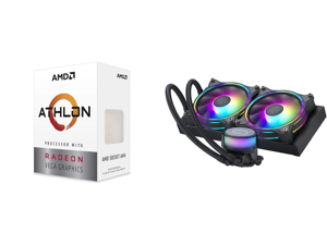 AMD Athlon 3000G Picasso (Zen+) 3.5GHz Dual-Core Unlocked OC AM4 Processor with Vega 3 Graphics and CoolerMaster MasterLiquid ML240 Illusion Translucent Dome 3rd Gen Dual Chamber Pump 240 Radiator Dual MF120 Halo for AMD Ryzen/Intel 1200/11
