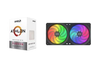 AMD Athlon 3000G Picasso (Zen+) 3.5GHz Dual-Core Unlocked OC AM4 Processor with Vega 3 Graphics and COOLERMASTER MFX-B2D2-18NPA-R1 MasterFan SF240R ARGB Fan
