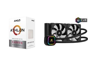 AMD Athlon 3000G Picasso (Zen+) 3.5GHz Dual-Core Unlocked OC AM4 Processor with Vega 3 Graphics and CORSAIR iCUE H100i RGB PRO XT 240mm Radiator Dual 120mm PWM Fans Software Control Liquid CPU Cooler CW-9060043-WW