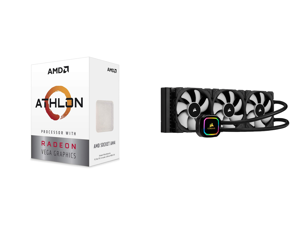 AMD Athlon 3000G Picasso (Zen+) 3.5GHz Dual-Core Unlocked OC AM4 Processor with Vega 3 Graphics and CORSAIR iCUE H150i RGB PRO XT 360mm Radiator Triple 120mm PWM Fans Advanced RGB Lighting and Fan Control with Software Liquid CPU Cooler