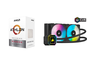 AMD Athlon 3000G Picasso (Zen+) 3.5GHz Dual-Core Unlocked OC AM4 Processor with Vega 3 Graphics and Corsair Hydro Series iCUE H100i ELITE CAPELLIX 240mm Radiator Dual ML120 RGB PWM Fans Powerful iCUE Software Liquid CPU Cooler CW-9060046-WW