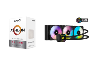 AMD Athlon 3000G Picasso (Zen+) 3.5GHz Dual-Core Unlocked OC AM4 Processor with Vega 3 Graphics and CORSAIR iCUE H150i ELITE CAPELLIX Liquid CPU Cooler CW-9060048-WW
