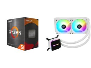 AMD Ryzen 9 5950X - Ryzen 9 5000 Series Vermeer (Zen 3) 16-Core 3.4 GHz Socket AM4 105W Desktop Processor - 100-100000059WOF and Enermax LIQMAX III ARGB 240 for AM4 / LGA1200 240mm Radiator Dual-Chamber Water Block Addressable RGB All-in-on