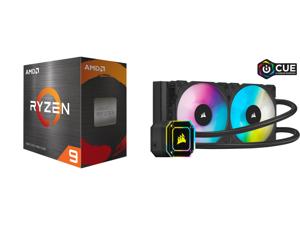 AMD Ryzen 9 5950X - Ryzen 9 5000 Series Vermeer (Zen 3) 16-Core 3.4 GHz Socket AM4 105W Desktop Processor - 100-100000059WOF and Corsair Hydro Series iCUE H100i ELITE CAPELLIX 240mm Radiator Dual ML120 RGB PWM Fans Powerful iCUE Software Li
