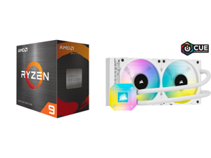 AMD Ryzen 9 5950X - Ryzen 9 5000 Series Vermeer (Zen 3) 16-Core 3.4 GHz Socket AM4 105W Desktop Processor - 100-100000059WOF and CORSAIR iCUE H100i ELITE CAPELLIX WHITE 240mm Radiator Liquid CPU Cooler White CW-9060050-WW