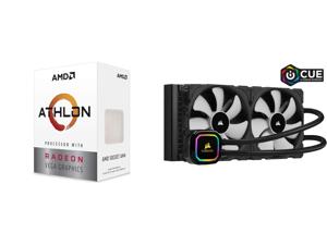 AMD Athlon 3000G Picasso (Zen+) 3.5GHz Dual-Core Unlocked OC AM4 Processor with Vega 3 Graphics and CORSAIR iCUE H115i RGB PRO XT 280mm Radiator Dual 140mm PWM Fans Software Control Liquid CPU Cooler CW-9060044-WW