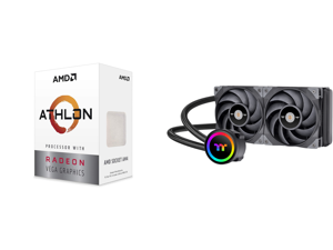 AMD Athlon 3000G Picasso (Zen+) 3.5GHz Dual-Core Unlocked OC AM4 Processor with Vega 3 Graphics and Thermaltake TOUGHLIQUID CL-W319-PL12BL-A Water Cooler
