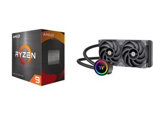 AMD Ryzen 9 5950X - Ryzen 9 5000 Series Vermeer (Zen 3) 16-Core 3.4 GHz Socket AM4 105W Desktop Processor - 100-100000059WOF and Thermaltake TOUGHLIQUID CL-W319-PL12BL-A Water Cooler