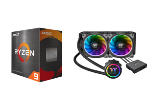 AMD Ryzen 9 5950X - Ryzen 9 5000 Series Vermeer (Zen 3) 16-Core 3.4 GHz Socket AM4 105W Desktop Processor - 100-100000059WOF and Thermaltake Floe AIO Riing RGB 240 TT Premium Edition PWM TR4 LGA2066 Ready Liquid Cooling System CL-W157-PL12S