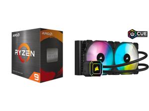 AMD Ryzen 9 5950X - Ryzen 9 5000 Series Vermeer (Zen 3) 16-Core 3.4 GHz Socket AM4 105W Desktop Processor - 100-100000059WOF and Corsair Hydro Series iCUE H115i ELITE CAPELLIX 280mm Radiator Dual ML140 RGB PWM Fans Powerful iCUE Software Li