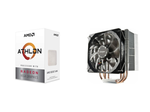AMD Athlon 3000G Picasso (Zen+) 3.5GHz Dual-Core Unlocked OC AM4 Processor with Vega 3 Graphics and Enermax ETS-T40 Fit 120mm CPU Air Cooler 200W TDP 4 Direct Contact Heat Pipes 120mm Silent PWM Fan AMD Ryzen / Intel LGA 1200/1151 ETS-T40F-