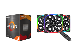 AMD Ryzen 9 5950X - Ryzen 9 5000 Series Vermeer (Zen 3) 16-Core 3.4 GHz Socket AM4 105W Desktop Processor - 100-100000059WOF and Enermax SquA RGB PWM 120mm Case Fan Addressable RGB Sync Via Motherboard w/ RGB Control Box 3 Fan Pack - Black