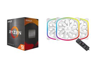 AMD Ryzen 9 5950X - Ryzen 9 5000 Series Vermeer (Zen 3) 16-Core 3.4 GHz Socket AM4 105W Desktop Processor - 100-100000059WOF and Enermax SquA RGB PWM 120mm Case Fan Addressable RGB Sync Via Motherboard w/ RGB Control Box 3 Fan Pack - White