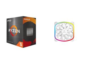 AMD Ryzen 5 5600X - Ryzen 5 5000 Series Vermeer (Zen 3) 6-Core 3.7 GHz Socket AM4 65W Desktop Processor - 100-100000065BOX and Enermax SquA 120mm Dual Light Loop RGB LED PWN Case Fan Addressable RGB Sync Via Motherboard Plug Play - Single P