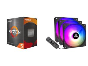 AMD Ryzen 5 5600X - Ryzen 5 5000 Series Vermeer (Zen 3) 6-Core 3.7 GHz Socket AM4 65W Desktop Processor - 100-100000065BOX and Enermax HF120 RGB PWM 120mm Case Fan Addressable RGB Sync Via Motherboard/Control Box 3 Fan Pack- Black