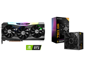 EVGA GeForce RTX 3070 Ti FTW3 ULTRA GAMING Video Card 08G-P5-3797-KL 8GB GDDR6X iCX3 Technology ARGB LED Metal Backplate and EVGA SuperNOVA 750 G6 80 Plus Gold 750W Fully Modular Eco Mode with FDB Fan 10 Year Warranty Includes Power ON Self