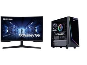 "SAMSUNG Odyssey G5 C32G57T 32"" WQHD 2560 x 1440 (2K) 1 ms (MPRT) 144 Hz HDMI DisplayPort FreeSync Premium Curved Gaming Monitor and ABS Master Gaming PC - Intel i5 10400F - GeForce RTX 3060 12GB - 16GB DDR4 3000MHz - 512GB M.2 NVMe SSD"