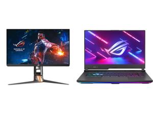 "ASUS ROG Swift PG259QN eSports G-SYNC Gaming Monitor 24.5"" FHD (1920 x 1080) 360 Hz Fast IPS 1 ms (GTG) HDR NVIDIA ULMB and ASUS G513IM-EB74 Gaming Laptop AMD Ryzen 7 4800H 2.90 GHz 15.6"" Windows 10 Home 64-bit"