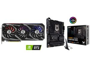 ASUS ROG Strix GeForce RTX 3070 Ti 8GB GDDR6X PCI Express 4.0 Video Card ROG-STRIX-RTX3070TI-O8G-GAMING and ASUS TUF GAMING Z590-PLUS WIFI LGA 1200 Intel Z590 SATA 6Gb/s ATX Intel Motherboard