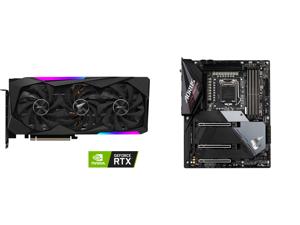 GIGABYTE AORUS GeForce RTX 3070 MASTER 8GB GDDR6 PCI Express 4.0 ATX Video Card GV-N3070AORUS M-8GD (rev. 2.0) (LHR) and GIGABYTE Z590 AORUS ULTRA LGA 1200 Intel Z590 SATA 6Gb/s ATX Intel Motherboard
