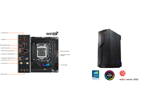 ASUS ROG STRIX Z590-I GAMING WIFI LGA 1200 Intel Z590 SATA 6Gb/s Mini ITX Intel Motherboard and ASUS ROG Z11 Mini-ITX/DTX Mid-Tower PC Gaming Case with Patented 11° Tilt Design Compatible with ATX Power Supply or a 3-Slot Graphics Tempered-