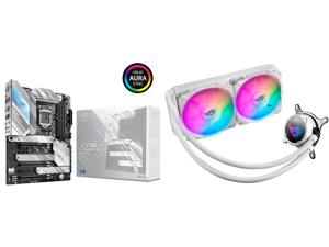 ASUS ROG Strix Z590-A Gaming WiFi 6 LGA 1200 (Intel 11th/10th Gen) ATX White Scheme Gaming Motherboard (14+2 Power Stages DDR4 5133 WiFi 6 Intel 2.5Gb LAN Thunderbolt 4 Support 3 x M.2/NVMe SSD and ASUS ROG Strix LC 240 RGB White Edition Al