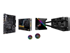 ASUS AM4 TUF Gaming X570-Plus (Wi-Fi) ATX Motherboard with PCIe 4.0 Dual M.2 12+2 with Dr. MOS Power Stage HDMI DP SATA 6Gb/s USB 3.2 Gen 2 and Aura Sync RGB Lighting and ASUS ROG Ryujin 240 RGB AIO Liquid CPU Cooler 240mm Radiator (Dual 12
