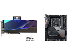 GIGABYTE AORUS Radeon RX 6900 XT 16GB GDDR6 PCI Express 4.0 ATX Video Card GV-R69XTAORUSX WB-16GD and GIGABYTE Z590 AORUS MASTER LGA 1200 Intel Z590 ATX Motherboard with Triple M.2 PCIe 4.0 USB 3.2 Gen2X2 Type-C Intel WIFI 6E AQUANTIA 10GbE