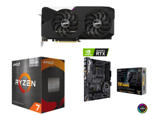 ASUS Dual NVIDIA GeForce RTX 3070 V2 OC Edition Gaming Graphics Card (PCIe 4.0 8GB GDDR6 LHR HDMI 2.1 DisplayPort 1.4a Axial-tech Fan Design Dual BIOS Protective Backplate) and AMD Ryzen 7 5700G - Ryzen 7 5000 G-Series Cezanne (Zen 3) 8-Cor