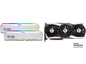 OLOy Blade RGB 32GB (2 x 16GB) 288-Pin DDR4 SDRAM DDR4 3200 (PC4 25600) Desktop Memory Model ND4U1632162BRWDE and MSI Gaming Radeon RX 6800 16GB GDDR6 PCI Express 4.0 CrossFireX Support Video Card RX 6800 GAMING X TRIO 16G