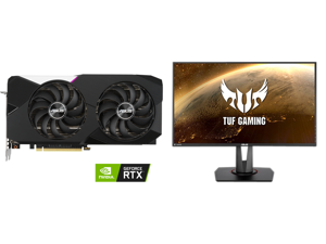 """ASUS Dual NVIDIA GeForce RTX 3070 V2 OC Edition Gaming Graphics Card (PCIe 4.0 8GB GDDR6 LHR HDMI 2.1 DisplayPort 1.4a Axial-tech Fan Design Dual BIOS Protective Backplate) and ASUS TUF Gaming VG279QM 27"""" Full HD 1920 x 1080 1 ms (GTG) 280H"""