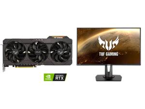 "ASUS TUF Gaming GeForce RTX 3070 V2 OC Edition 8GB GDDR6 PCI Express 4.0 Video Card TUF-RTX3070-O8G-V2-GAMING (LHR) and ASUS TUF Gaming VG279QM 27"" Full HD 1920 x 1080 1 ms (GTG) 280Hz (Overclocking) 2 x HDMI DisplayPort G-SYNC ELMB SYNC HD"