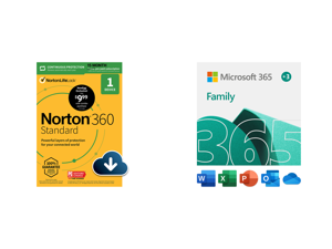 Norton 360 Standard - Antivirus Software for 1 Devices with Auto Renewal - 15 Month Subscription - 3 Months FREE - Includes VPN PC Cloud Backup Dark Web Monitoring Powered by LifeLock and Microsoft 365 Family   15-Month Subscription up to 6