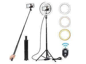 """10"""" Selfie Ring Light with Adjustable Tripod Stand & Flexible Phone Holder 3 Color Modes & 10 Brightness USB Powered Perfect for YouTube Video/Live Streaming"""
