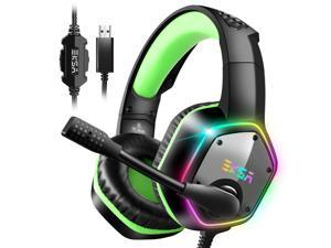 EKSA E1000 Gaming Headset with 7.1 Surround Sound Stereo USB Headphones with Noise Canceling Mic & RGB Light for PC, PS4, Laptop (Green)