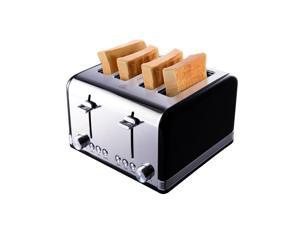 Gohyo Toaster 4 Slice Stainless Steel with Wide Slots & Removable Crumb Tray for Bread & Bagels Black & Sliver